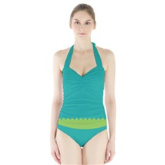 Green Blue Teal Scallop Wallpaper Wave Halter Swimsuit by Alisyart