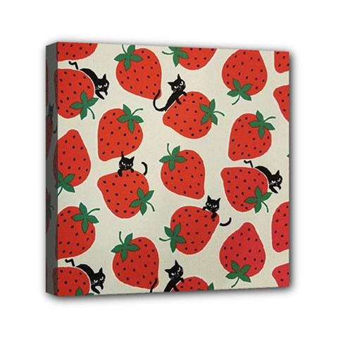 Fruit Strawberry Red Black Cat Mini Canvas 6  X 6