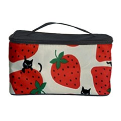 Fruit Strawberry Red Black Cat Cosmetic Storage Case