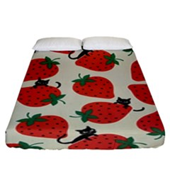 Fruit Strawberry Red Black Cat Fitted Sheet (king Size) by Alisyart