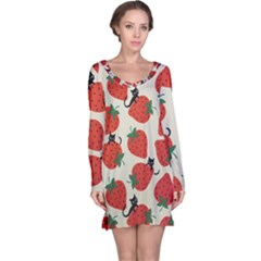 Fruit Strawberry Red Black Cat Long Sleeve Nightdress