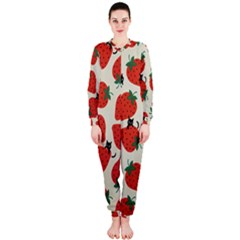 Fruit Strawberry Red Black Cat Onepiece Jumpsuit (ladies)  by Alisyart