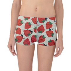 Fruit Strawberry Red Black Cat Reversible Bikini Bottoms