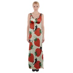 Fruit Strawberry Red Black Cat Maxi Thigh Split Dress