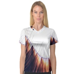Abstract Lines Women s V Neck Sport Mesh Tee by Simbadda