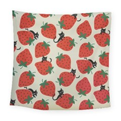 Fruit Strawberry Red Black Cat Square Tapestry (large)