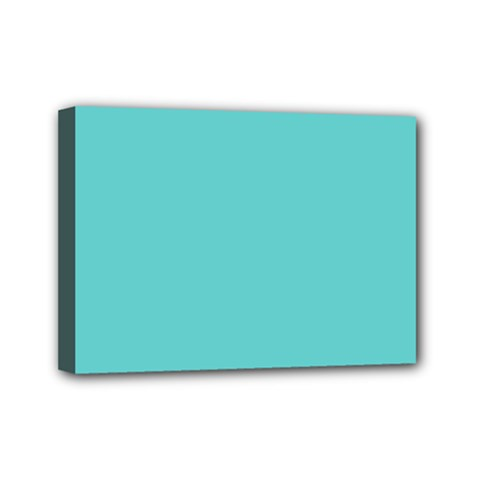 Grey Wave Water Waves Blue White Mini Canvas 7  X 5