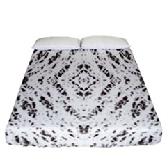 Pattern Monochrome Terrazzo Fitted Sheet (queen Size) by Simbadda