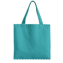 Grey Wave Water Waves Blue White Zipper Grocery Tote Bag by Alisyart