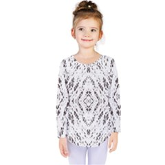 Pattern Monochrome Terrazzo Kids  Long Sleeve Tee
