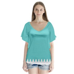 Grey Wave Water Waves Blue White Flutter Sleeve Top
