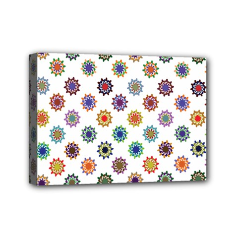 Flowers Color Artwork Vintage Modern Star Lotus Sunflower Floral Rainbow Mini Canvas 7  X 5  by Alisyart