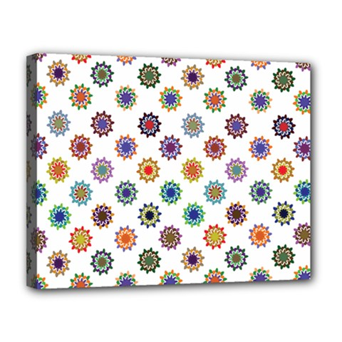 Flowers Color Artwork Vintage Modern Star Lotus Sunflower Floral Rainbow Canvas 14  X 11