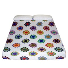 Flowers Color Artwork Vintage Modern Star Lotus Sunflower Floral Rainbow Fitted Sheet (queen Size) by Alisyart