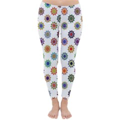 Flowers Color Artwork Vintage Modern Star Lotus Sunflower Floral Rainbow Classic Winter Leggings