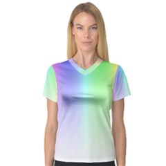 Layer Light Rays Rainbow Pink Purple Green Blue Women s V Neck Sport Mesh Tee by Alisyart