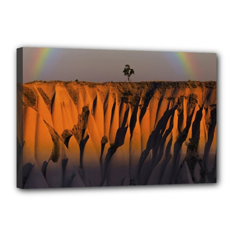 Rainbows Landscape Nature Canvas 18  X 12  by Simbadda
