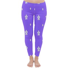 Light Purple Flowers Background Images Classic Winter Leggings