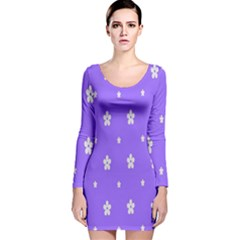 Light Purple Flowers Background Images Long Sleeve Velvet Bodycon Dress by Alisyart