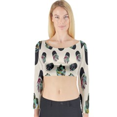 Succulent Plants Pattern Lights Long Sleeve Crop Top by Simbadda