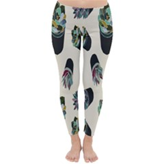 Succulent Plants Pattern Lights Classic Winter Leggings by Simbadda