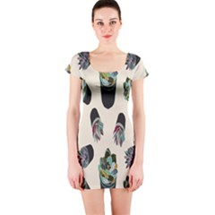 Succulent Plants Pattern Lights Short Sleeve Bodycon Dress by Simbadda