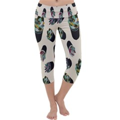 Succulent Plants Pattern Lights Capri Yoga Leggings by Simbadda