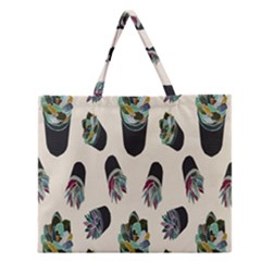 Succulent Plants Pattern Lights Zipper Large Tote Bag by Simbadda