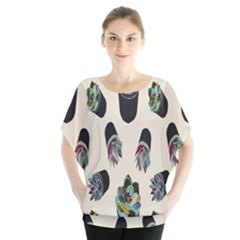 Succulent Plants Pattern Lights Blouse by Simbadda