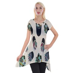 Succulent Plants Pattern Lights Short Sleeve Side Drop Tunic by Simbadda