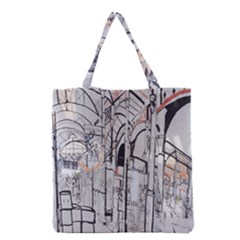 Cityscapes England London Europe United Kingdom Artwork Drawings Traditional Art Grocery Tote Bag by Simbadda