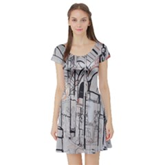 Cityscapes England London Europe United Kingdom Artwork Drawings Traditional Art Short Sleeve Skater Dress by Simbadda