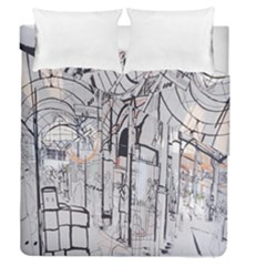 Cityscapes England London Europe United Kingdom Artwork Drawings Traditional Art Duvet Cover Double Side (queen Size)