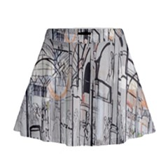 Cityscapes England London Europe United Kingdom Artwork Drawings Traditional Art Mini Flare Skirt by Simbadda