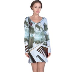 Digital Art Paint In Water Long Sleeve Nightdress by Simbadda