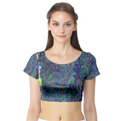 Glitch Art Short Sleeve Crop Top (tight Fit) by Simbadda