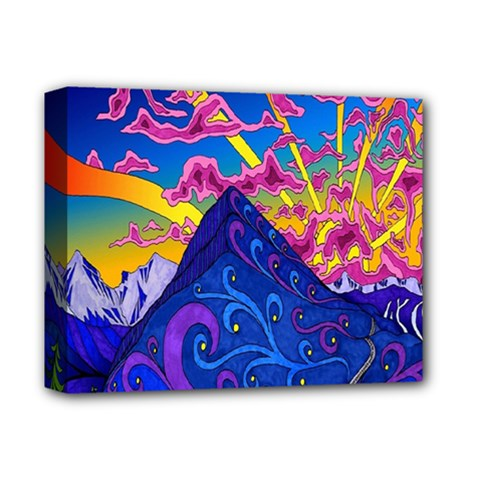 Psychedelic Colorful Lines Nature Mountain Trees Snowy Peak Moon Sun Rays Hill Road Artwork Stars Deluxe Canvas 14  X 11  by Simbadda
