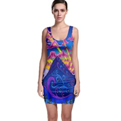 Psychedelic Colorful Lines Nature Mountain Trees Snowy Peak Moon Sun Rays Hill Road Artwork Stars Sleeveless Bodycon Dress by Simbadda