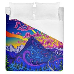 Psychedelic Colorful Lines Nature Mountain Trees Snowy Peak Moon Sun Rays Hill Road Artwork Stars Duvet Cover (queen Size) by Simbadda