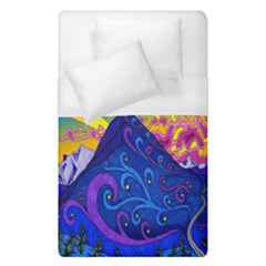 Psychedelic Colorful Lines Nature Mountain Trees Snowy Peak Moon Sun Rays Hill Road Artwork Stars Duvet Cover (single Size) by Simbadda