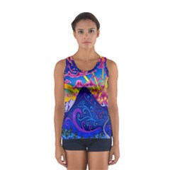 Psychedelic Colorful Lines Nature Mountain Trees Snowy Peak Moon Sun Rays Hill Road Artwork Stars Women s Sport Tank Top