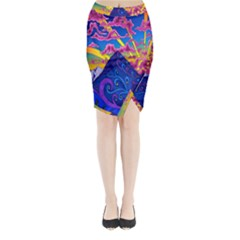 Psychedelic Colorful Lines Nature Mountain Trees Snowy Peak Moon Sun Rays Hill Road Artwork Stars Midi Wrap Pencil Skirt
