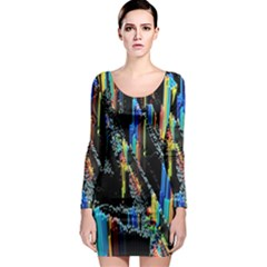 Abstract 3d Blender Colorful Long Sleeve Bodycon Dress