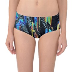 Abstract 3d Blender Colorful Mid Waist Bikini Bottoms