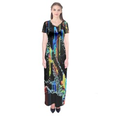 Abstract 3d Blender Colorful Short Sleeve Maxi Dress