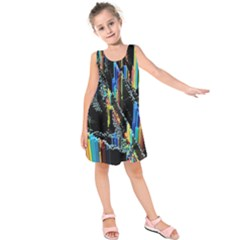 Abstract 3d Blender Colorful Kids  Sleeveless Dress