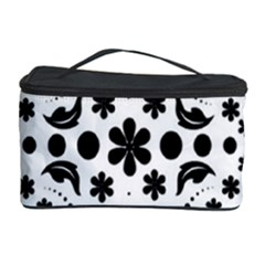 Leaf Flower Floral Black Cosmetic Storage Case