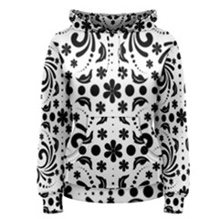 Leaf Flower Floral Black Women s Pullover Hoodie
