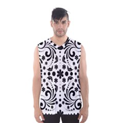 Leaf Flower Floral Black Men s Basketball Tank Top