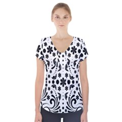 Leaf Flower Floral Black Short Sleeve Front Detail Top by Alisyart